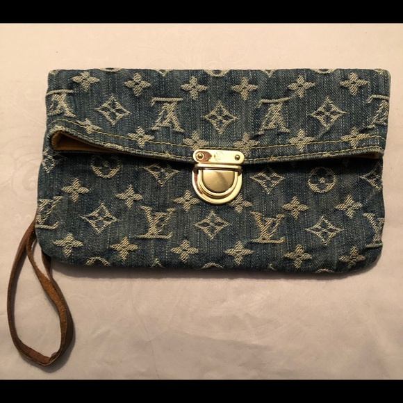 53a7b3b2d865 Louis Vuitton Handbags - Louis Vuitton Monogram Denim Pochette Plate Clutch